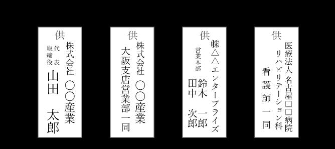 立て札の書き方(会社・同僚から贈る場合)